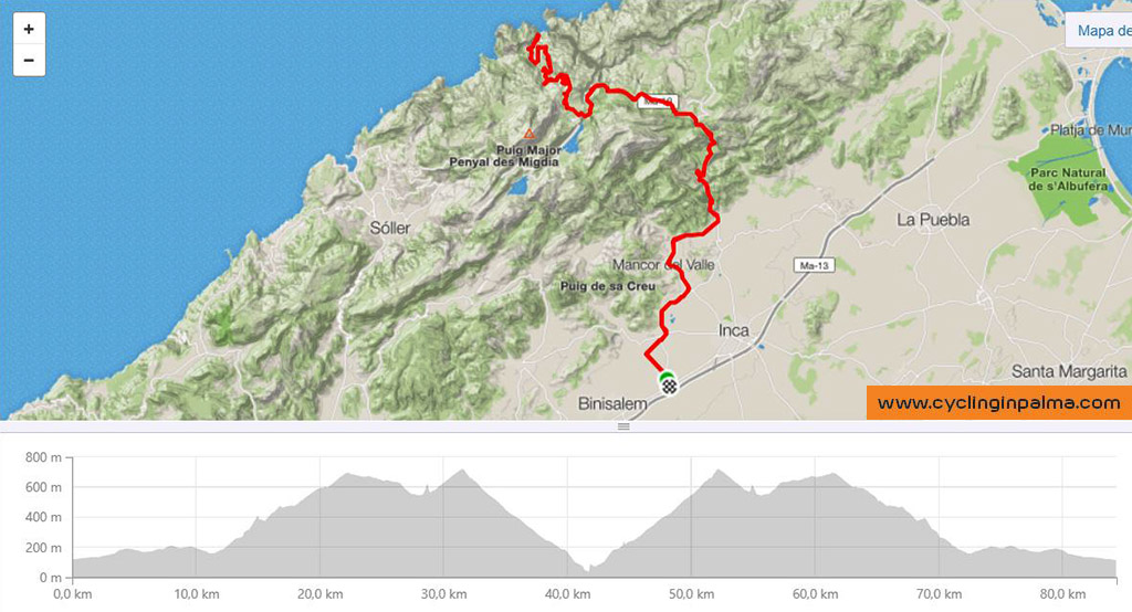 Sa Calobra Bike Tour Map, Cycling in Palma